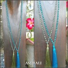 two color crystal beads tassels necklaces solid color long strand