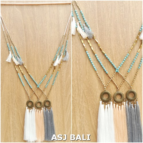 women necklaces tassels pendant turquoise golden mix beads 3color