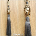 buddha head golden chrome tassels keychain long grey color