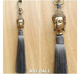 buddha head golden chrome tassels keychain long grey color