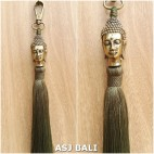 buddha golden chrome tassels keychain long lime color