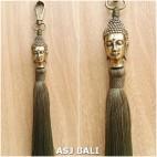buddha golden chrome tassels keychain long lime color