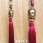 buddha golden chrome tassels keychain long maroon color