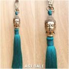 buddha head golden chrome tassels keychain long toska color