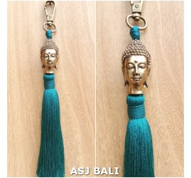 buddha head golden chrome tassels keychain long toska color