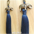 elephant golden chrome tassels keychain long blue color