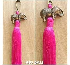 elephant golden chrome tassels keychain long pink color