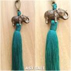 elephant golden chrome tassels keychain long toska color