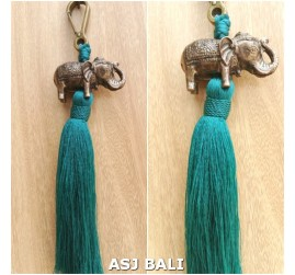 elephant golden chrome tassels keychain long toska color