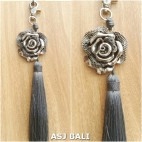 flower silver chrome tassels keyring long grey color