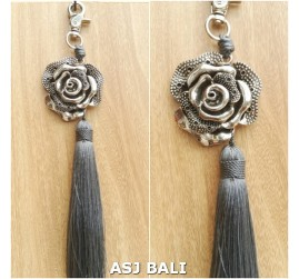flower silver chrome tassels keyring long grey color