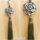 flower silver chrome tassels keyring long lime color