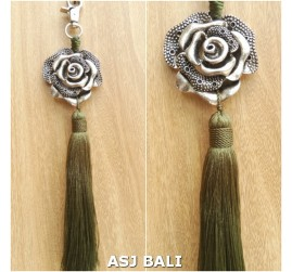 flower silver chrome tassels keyring long lime color
