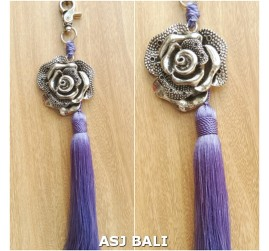 flower silver chrome tassels keyring long purple color