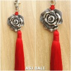 flower silver chrome tassels keyring long red color