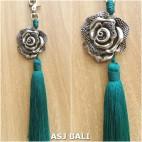 flower silver chrome tassels keyring long toska color