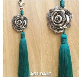 flower silver chrome tassels keyring long toska color