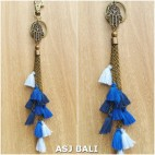 multiple tassels keychains rings charms elephant blue color