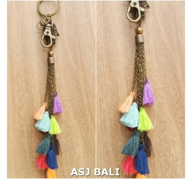 multiple tassels key rings charms elephant multi color