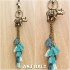 multiple tassels keychains rings charms elephant toska color