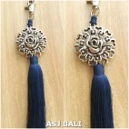 sunflower silver chrome tassels keyrings long blue color