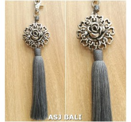 sunflower silver chrome tassels keyrings long grey color