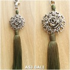 sunflower silver chrome tassels keyrings long lime color