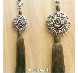 sunflower silver chrome tassels keyrings long lime color