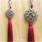 sunflower silver chrome tassels keyrings long maroon color