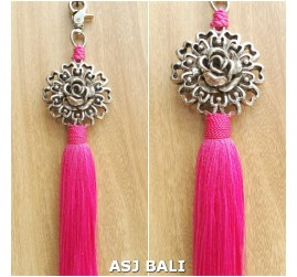 sunflower silver chrome tassels keyrings long pink color