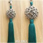 sunflower silver chrome tassels keyrings long toska color