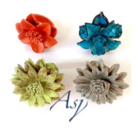 Bali Leather Flower Rings