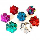 Multi Color Leather Rings Flower