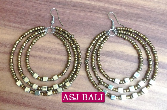 Beads Earrings Hoop Triangle Fashion Gold